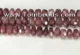 CBQ712 15.5 inches 6*12mm - 8*13mm faceted tyre strawberry quartz beads