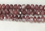 CBQ713 15.5 inches 6*13mm - 8*14mm faceted tyre strawberry quartz beads
