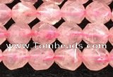 CBQ718 15.5 inches 6mm faceted nuggets strawberry quartz beads