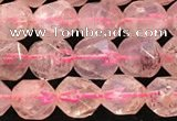 CBQ719 15.5 inches 8mm faceted nuggets strawberry quartz beads