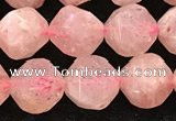 CBQ720 15.5 inches 10mm faceted nuggets strawberry quartz beads