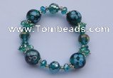 CBR24 5pcs imitation Swarovski crystal & lampwork glass beads bracelet