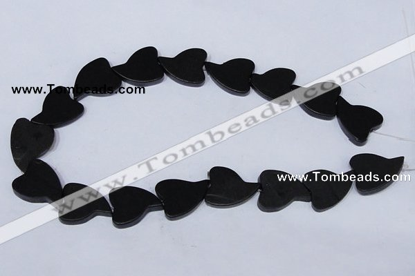 CBS26 15.5 inches 20*26mm heart black stone beads wholesale