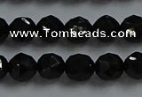 CBS525 15.5 inches 6mm faceted round natural black spinel beads