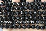 CBS545 15.5 inches 8mm faceted round black spinel gemstone beads