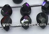 CBS550 15.5 inches 6*9mm faceted flat teardrop black spinel beads