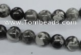 CBW02 15.5 inches 8mm round black & white jasper gemstone beads