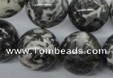 CBW05 15.5 inches 20mm round black & white jasper gemstone beads