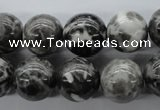 CBW07 15.5 inches 14mm round black & white jasper gemstone beads