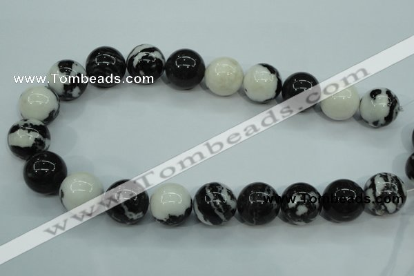 CBW108 15.5 inches 20mm round black & white jasper beads