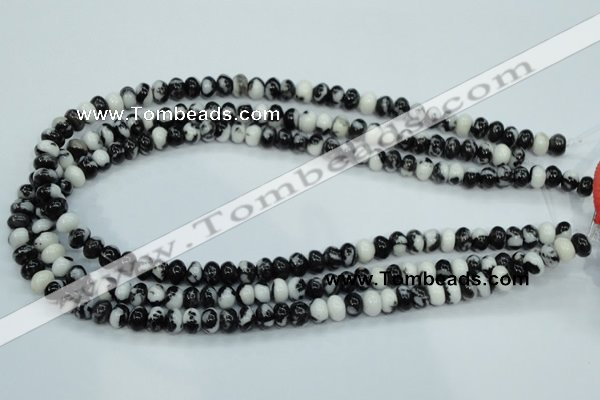 CBW111 15.5 inches 5*8mm rondelle black & white jasper beads