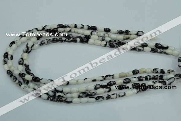 CBW117 15.5 inches 6*8mm rice black & white jasper beads