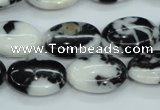 CBW125 15.5 inches 13*18mm oval black & white jasper beads