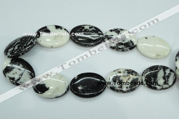 CBW129 15.5 inches 30*40mm oval black & white jasper beads