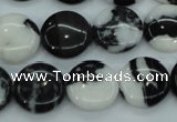 CBW144 15.5 inches 15mm flat round black & white jasper beads