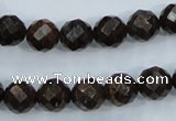 CBZ105 15.5 inches 10mm faceted round bronzite gemstone beads