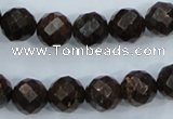 CBZ106 15.5 inches 12mm faceted round bronzite gemstone beads