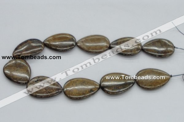 CBZ15 15.5 inches 30*40mm flat teardrop bronzite gemstone beads