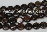 CBZ207 15.5 inches 8mm flat round bronzite gemstone beads