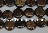 CBZ209 15.5 inches 12mm flat round bronzite gemstone beads