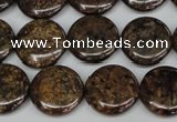 CBZ211 15.5 inches 16mm flat round bronzite gemstone beads