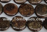 CBZ213 15.5 inches 20mm flat round bronzite gemstone beads
