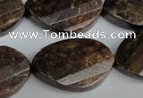 CBZ248 15.5 inches 20*30mm faceted & twisted oval bronzite gemstone beads