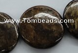 CBZ320 15.5 inches 30mm flat round bronzite gemstone beads wholesale
