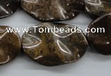 CBZ323 15.5 inches 20*30mm wavy oval bronzite gemstone beads wholesale