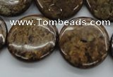 CBZ40 15.5 inches 25mm flat round bronzite gemstone beads wholesale