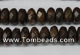 CBZ404 15.5 inches 6*12mm faceted rondelle bronzite gemstone beads