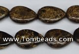 CBZ420 15.5 inches 13*18mm flat teardrop bronzite gemstone beads