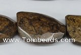 CBZ443 15.5 inches 23*32mm faceted & twisted rectangle bronzite beads