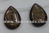 CBZ502 Top-drilled 13*18mm flat teardrop bronzite gemstone beads