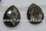 CBZ508 Top-drilled 15*20mm faceted flat teardrop bronzite gemstone beads