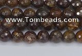 CBZ610 15.5 inches 4mm faceted round bronzite gemstone beads