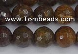 CBZ614 15.5 inches 12mm faceted round bronzite gemstone beads