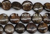 CBZ72 15.5 inches 12mm flat round bronzite gemstone beads