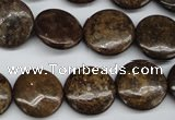 CBZ73 15.5 inches 16mm flat round bronzite gemstone beads