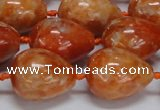 CCA463 15.5 inches 15*20mm teardrop orange calcite gemstone beads