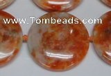 CCA478 15.5 inches 30mm flat round orange calcite gemstone beads