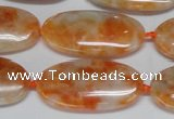 CCA485 15.5 inches 15*30mm oval orange calcite gemstone beads