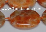 CCA486 15.5 inches 22*30mm oval orange calcite gemstone beads