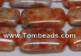 CCA500 15.5 inches 15*30mm rectangle orange calcite gemstone beads