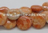 CCA55 15.5 inches 16mm flat round orange calcite gemstone beads