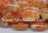 CCA58 15.5 inches 20*20mm square orange calcite gemstone beads