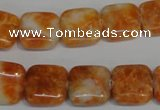 CCA73 15.5 inches 14*14mm square orange calcite gemstone beads