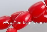 CCB03 15.5 inches 6*8mm drum shape red coral beads Wholesale