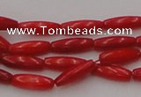 CCB131 15.5 inches 3*9mm rice red coral beads strand wholesale