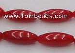 CCB136 15.5 inches 5*12mm rice red coral beads strand wholesale